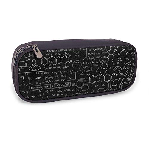 Pencil Case Abstract Science Chemistry Illustration 3D Big Capacity Leather Pencil Pouch Multifunction Stationery Pen Box Makeup Bag