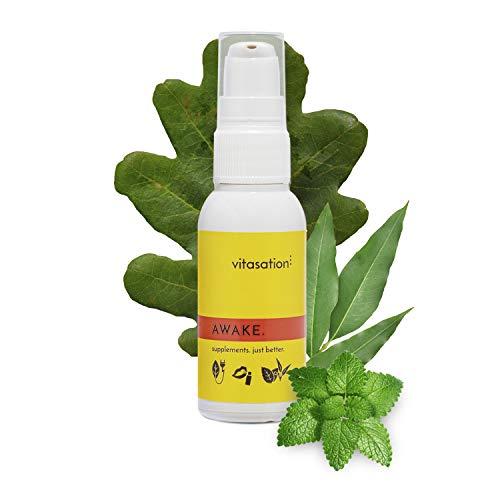 vitasation AWAKE. Mundspray für Unterwegs – Natürlicher Energie Booster Ohne Koffein - Vitamin B12 (Methylcobalamin), B6 (P-5-P), Robuvit und Q10 Vital – Mehr Leistung, weniger Müdigkeit, Vegan