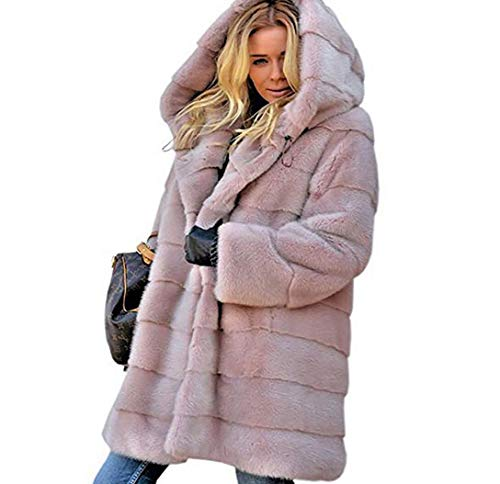 ZYLL Winter Starke warme Faux-Pelz-Mantel-Frauen Plus Größe mit Kapuze Langarm-Pelz-Jacke Winter Pelzmäntel,Rosa,XXL