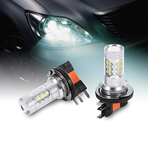 2pcs 80W H15 Bombillas LED Bombillas de faros delanteros de coche blanco LED Luz de circulación diurna Reemplazo de bombilla