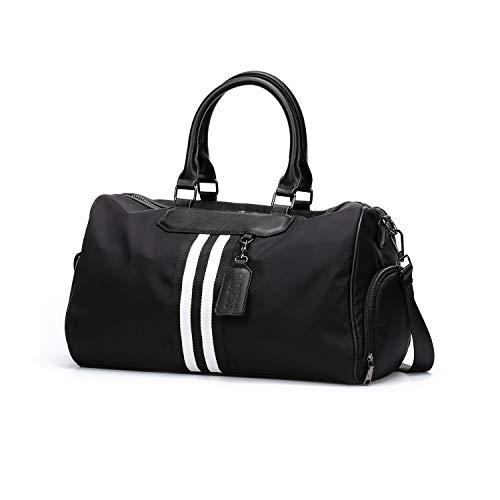 Black Small Travel Duffel Bag For Women, Gym Bag For Women, Overnight Weekender Bag For Women, Carry On Bag For Women, Tote Sport Workout Bag For Women Ladies-Dry Wet Separated Pocket-Nylon
