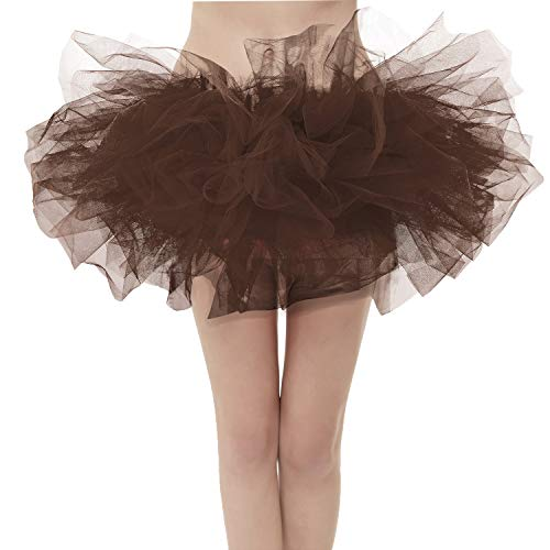 GirstunmBrand Damen 50er Mini Tüll Tutu Puffy Ballett Bubble Rock Schokolade-Standard Size New