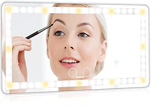 SKYWPOJU Espejo de Maquillaje para Visera de Coche, Espejo de Maquillaje para Coche con Luces 60 Leds, Visera con Clip de 3 Modos de luz, Espejo de Maquillaje de Viaje, Regulable, Sensor táctil