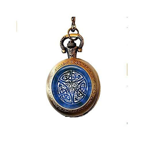 lukuhan Celtic Knot Pendant Pocket Watch Necklace