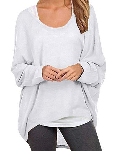 ZANZEA Damen Lose Asymmetrisch Jumper Sweatshirt Pullover Bluse Oberteile Oversize Tops Weiß EU 38-40/Etikettgröße M