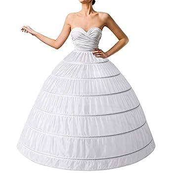 6-Hoops Hoop Skirt Full A-line Bridal Dress Gown Slip Petticoat for Wedding Dress Crinoline Underskirt Ball Gown