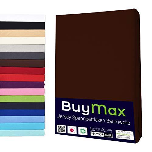 Buymax Spannbettlaken Kinderbett 60x120-70x140 cm Spannbetttuch Bettlaken für Beistellbetten Babybett 100% Baumwolle Jersey Matratzenhöhe bis 15 cm, Braun Schokobraun