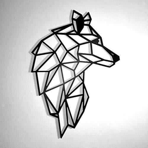 Fotodekora Cabeza de Lobo Escultura de Lineas Negras para Colgar en Pared   Diseño geométrico   Arte de Pared   Animales Origami   Plástico espumado
