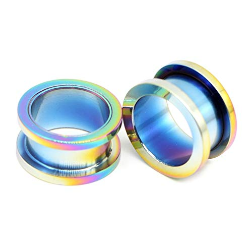 HLWJ 2PC Unisex Auricle Tunnels Ear Plugs Flesh Earring Gauges Screw Ear Stretchers Plugs And Tunnels Body Kit (Color : Rainbow, Size : 20mm)