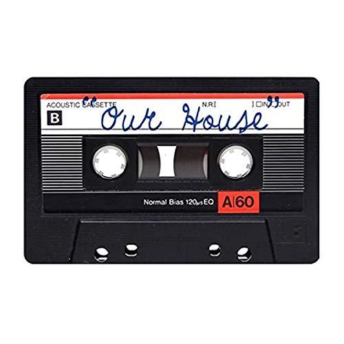 MDEIMAT Our House Cassette - Felpudo para interiores y exteriores, goma antideslizante para puerta de entrada, alfombra de cocina, 15.7 x 23.6 pulgadas