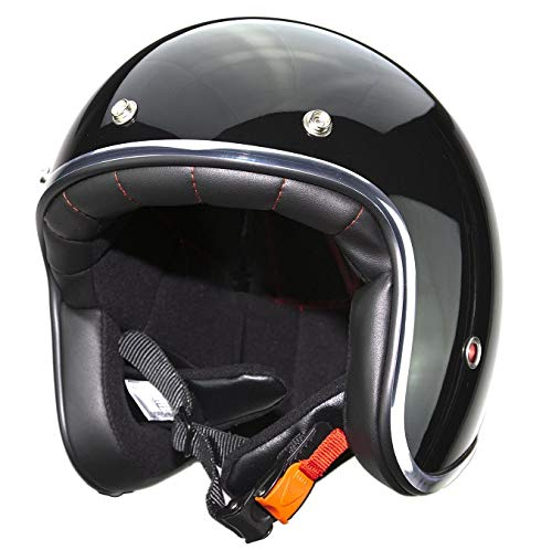 Casco de moto jet con remaches Pendejo by iguana custom collection negro brillo (M)