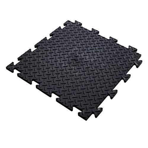 Certeo Vinyl Bodenfliesen - HxBxT 12 x 470 x 470 mm - Geriffelt - Schwarz - VE 5 - Klickfliesen Vinylfliesen