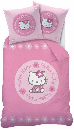 CTI para niños con diseño de juego de cama de Hello Kitty Candice, de Linón, algodón, rosa, 135 x 200 - 80 x 80 cm