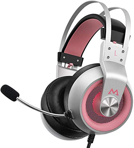 Mpow EG3 Pro Gaming Headset - Stereo Surround Sound Xbox Headset with Noise Cancellation Mic & In-Line Control, Over-Ear Gaming Headphones with LED Light, Compatible with PC/Xbox One/PS4, Pink