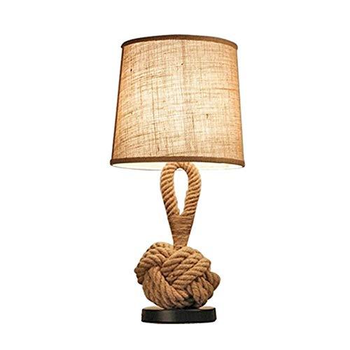 beige natur Design Tau-Lampe Schöne Seil Tischleuchte ampen Creative Seil Lampe Studie Persönlichkeit Nachttisch Lampe Schlafzimmer Wohnzimmer europäischen Stil Tischlampe dekoriert E27