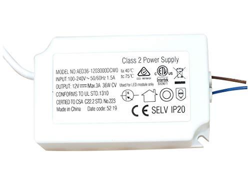 Abishion LED Transformador 36W 12VDC,Fuente de Alimentación Del Controlador LED,Para Tiras de luces LED y G4, MR11, Bombilla LED MR16,1 Paquete.