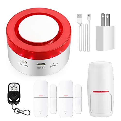 TUYA Smart Home Security Alarm Siren System, Hacevida T1 Wireless WiFi Burglar Siren Alarms, Compatible with Alexa and Google Assistant/APP Alarm Push/Custom-Named/Timing Setting