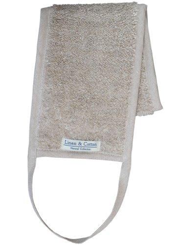 Linen & Cotton Luxus Natural Back Strap Scrubber Rückenscrubber Badeschwamm/Duschschwamm Rücken Rückengurt für Sanftes Rückenreiber ARIA, 60% Leinen, 40% Baumwolle - 15 x 70cm (Natur/Beige)
