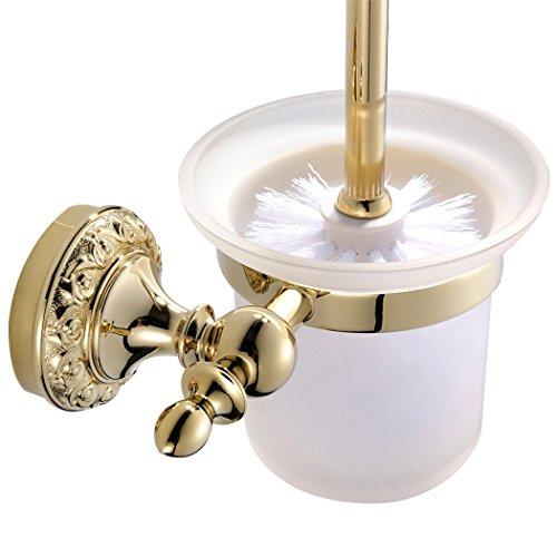 CASEWIND Toilettenbürstenhalter mit Bürste und Becher, Messing und Mattglas Konstruktion Luxus Prächtig Stil Poliert Gold Finished, Toiletten Set Wandmontag Bohren