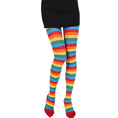LOPILY Regenbogen Streifen Strumpfhose Weihnachtskostüme Socken Blickdicht Gestreift Strumpfen Karneval Schwarz Weiß Erwachsenenkostüm für Damen Retro Vintage Strümpfe Mädchen (Mehrfarbig, Free)