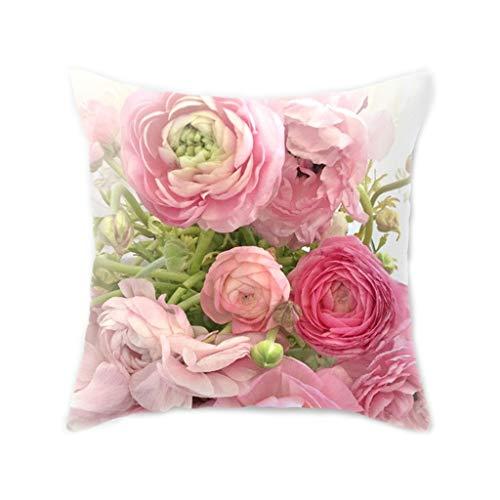 Karrychen 45x45 CM Estilo nórdico mediterráneo Melocotón Terciopelo Funda de cojín Decorativa para el hogar Flor Rosa de Colores Impresión Digital 3D Funda de Almohada para Tiro - 1#