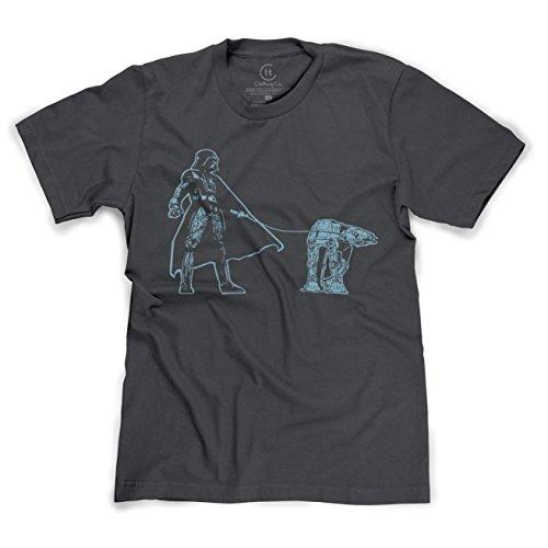 Darth Vader Walking an AT-AT Funny Star Wars Sci-Fi T-Shirt - (HTHR Charcoal) XL