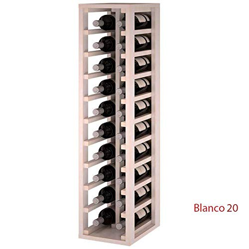 ZonaWine - Botellero 2 columnas en Madera de Pino o Roble para 20 Botellas. Medidas: 105/24/32 cm - Pino Pintado Blanco