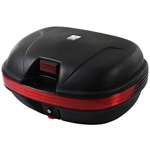 HOMCOM Universal Baúl de Moto Scooter Maleta para 2 Cascos Medios Capacidad de 43 L Cerradura con Dos Llaves 55,5x41x27,5 cm Negro