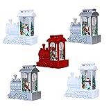 5PC Faroles para Decoración Navideña, Luces LED Tipo Vela, Motivos De Papá Noel Y Muñecos De Nieve,Adornos De Fiesta, Blanco