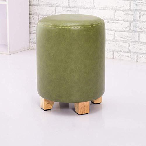American Round PU lederen sofa kruk retro waterdicht schoenenbank wissel voor volwassenen make-uptafel stoel zitzak voetenbank met eikenpootjes (wit) Nunlea4028r-4 Nunlea4028r-4