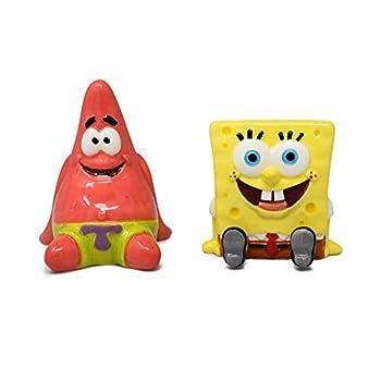 SpongeBob SquarePants and Patrick Salt and Pepper Shaker Set - Hand Painted Ceramic 2-Piece Set Home and Kitchen Utensils Homeware Refillable