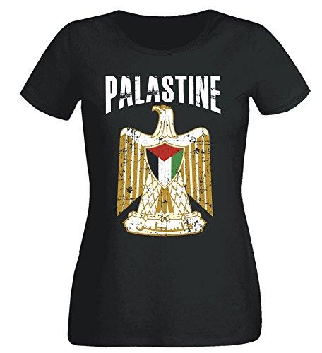 Aprom-Sports Damen T-Shirt Palästina WM 2018 .- Vintage Destroy SC Wappen D01 (XS)