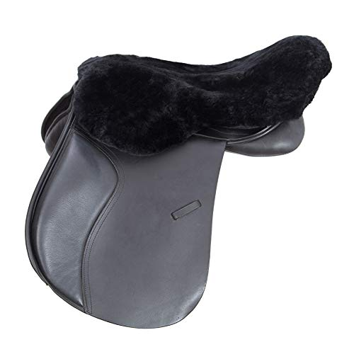 Merauno English Merino Sheepskin Saddle Seat Cover -Reitsport Lammfell Sattelsitzbezug englisch Schwarz (L)