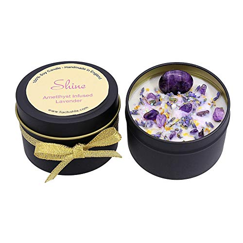 Crystal Candle Amethyst Candle with Crystals Lavender Candle Shine Calming Candle Handmade in England by Lia Chahla (Shine - Amethyst and Lavender)