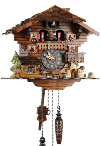 Orologio a cucù in vero legno, con meccanismo al quarzo, funzionamento a batteria, 30 cm, 21438