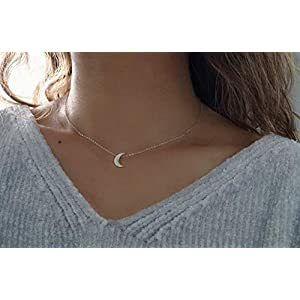 Silver Crescent Moon Choker – 925 Sterling Silver Necklace – Short Necklace – Silver Choker Necklace – Dainty necklace…