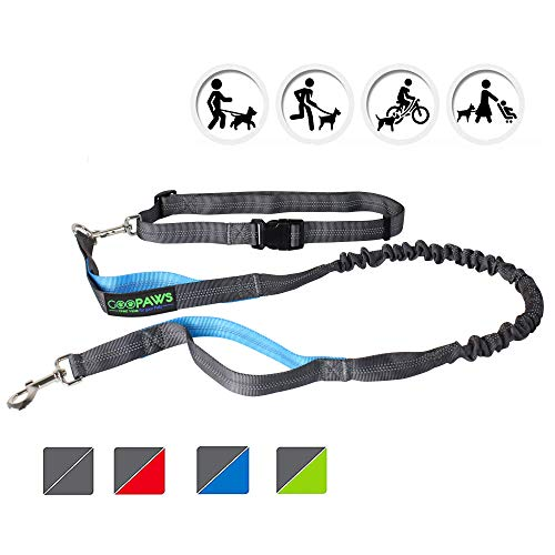 JESPET Hands Free Dog Leash, Reflective Running Bungee Leash Retractable for Up to 100lbs Medium & Large Dogs (Gray & Blue)