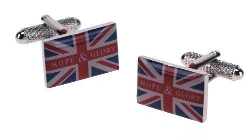 Union Jack Hope & Glory Motif boutons de manchette dans une boîte cadeau – Onyx-Art London Ck704