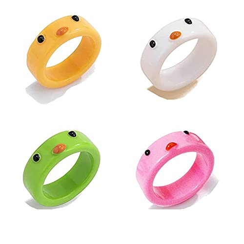 4pcs Frog Rings For Women,Silver Chunky Vintage Adjustable Matching Set Y2k Stackable Animal Rings Teen Girls Cool Friendship Dainty Open Jewelry (chicken 4pcs)