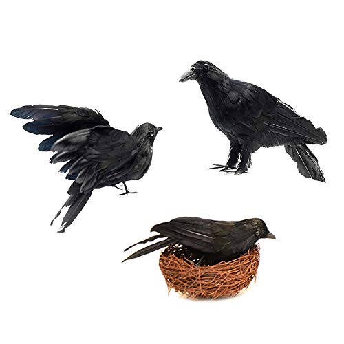 Lamf 6 Stück Halloween Realistische handgefertigte Krähe Requisite Künstliche Rabe schwarz gefiederte Krähen für Halloween Home Dekoration Outdoor Indoor 3Pcs Black Crow+1Pcs Bird Nest 4Pcs Raven Set