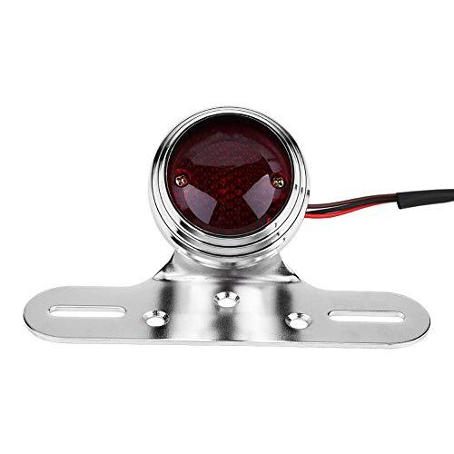 Qiilu achterlicht motorfiets rode staart rem stop lamp voor chopper bobber(Zilver)
