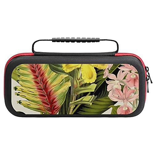 Palm In Palm Floral Fantastico Grand étui de transport personnalisé pour Nintendo Switch Coque de rangement rigide compatible et protectrice antichoc Blanc cassé