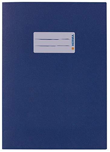 HERMA 5503 Papier Heftumschlag DIN A5 mit Beschriftungsfeld, aus kräftigem Recycling Altpapier und satten Farben, Heftschoner für Schulhefte, blau