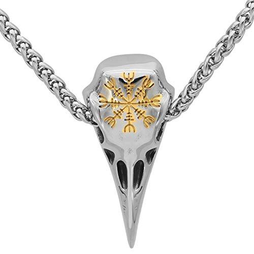 WTZWY Viking Rune Skull Bird Collar, Cuervos Accesorios para Hombres Vegvisir Symbol Amuleto Colgante de Acero Inoxidable, Cadena de Trigo de Metal 60Cm,Gold Raven