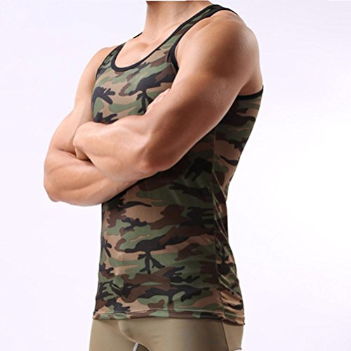 FNKDOR Summer Sport Style Military Sleeveless Men's Outdoor Gym Running Cycling Slim Camouflage Vest Sportswear Tank Top(Camouflage,XL)