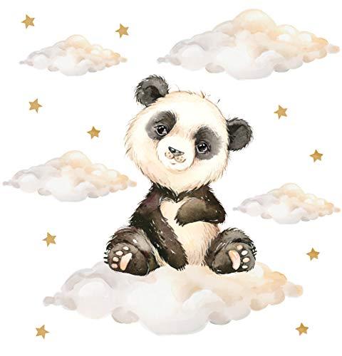 Pandawal Kinderzimmer Deko Wandtattoo Panda mit Wolken Sterne Junge Mädchen Wandsticker Baby Safari Tiere Wandaufkleber (M, Panda)