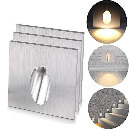ALLOMN LED Wandeinbauleuchte, Wandlampen Schritt Licht Quadratisch Einbauleuchte LED Stufen Treppe Veranda Weg Licht 1W Kellerlampe AC 100-245V (Warmweiß, 3 PCS)