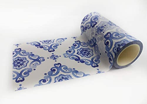 Blue and White Moroccan Ceramic Tile Pattern washi Tape Extra Wide Long roll Use as Temporary product image