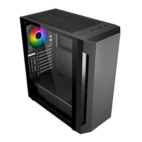 SaharaGaming C501 - Carcasa para ordenador de torre media - E-ATX/ATX/MATX/ITX High Airflow - Incluye 3 ventiladores delanteros de 14 c0 mm Silent Hawk y traseros 1 x 140 mm SYNC Bullseye