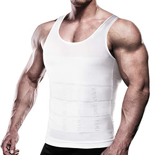 HOTER Mens Slimming Body Shaper Vest Abdomen Slim, White, Large